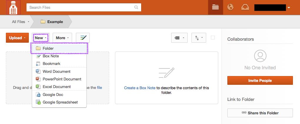 Create a folder in Box - Step 1