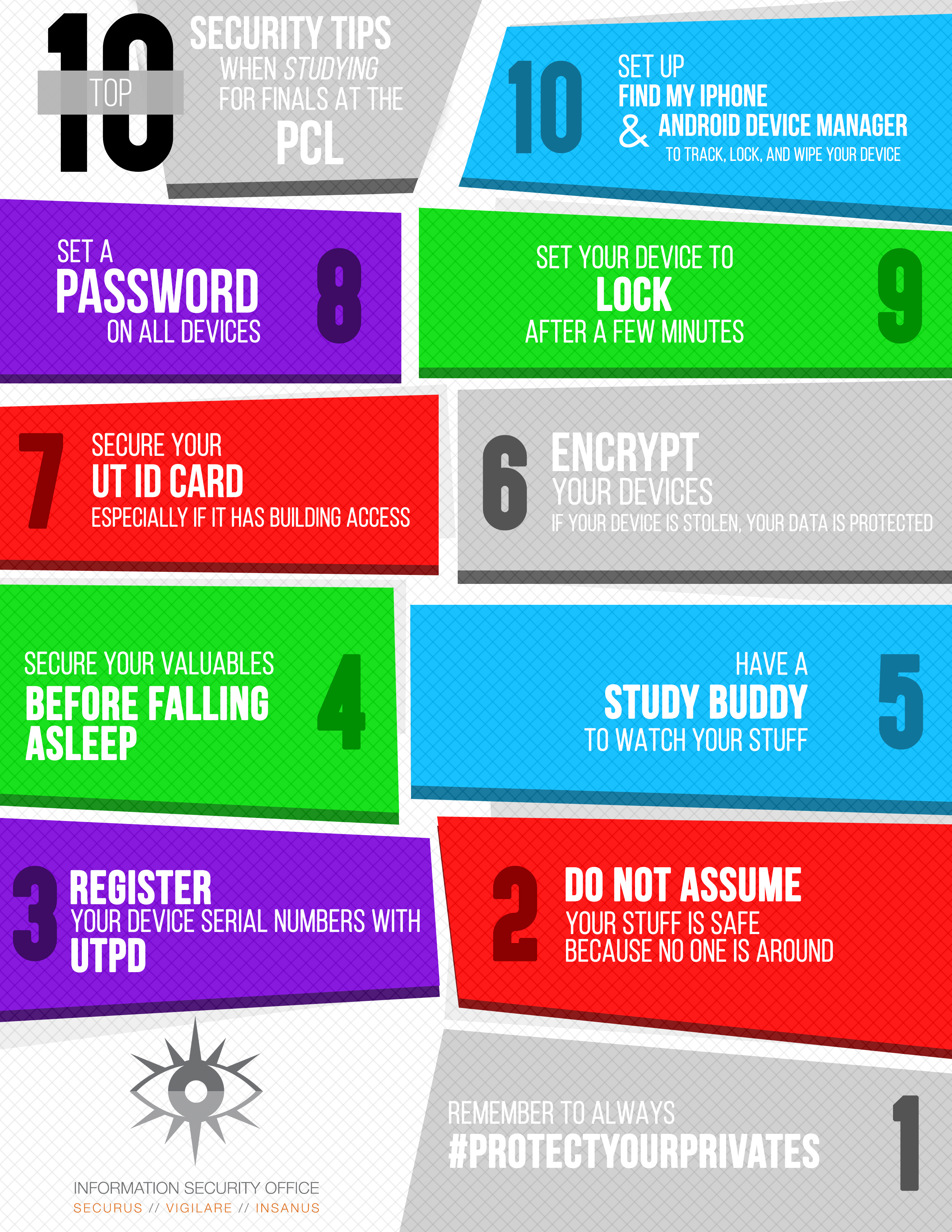 The top ten security tips when studying for finals at the PCL.